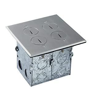 Floor Box Coin Open Kit by Enerlites 975510-SS Electrical Outlet Receptacle, 2-Gang 20A Tamper/Weather Resistant Duplex Receptacle, Stainless Steel Cover Plate