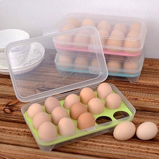 Mmrm - Estuche para huevos (plástico, 15 celdas), color verde: Amazon.es: Hogar