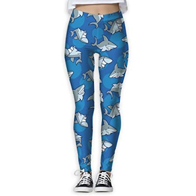 Cute Shark Print Women's Compression Pants Sports Leggings Tights Baselayer Trousers For Yoga&Fitness