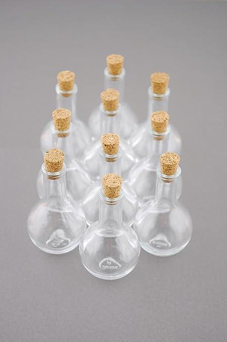Wayfair 10 Mini botellas de vidrio con tapón de corcho 3 en
