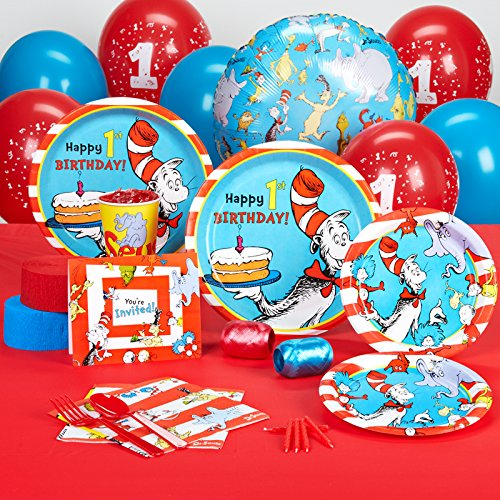 Dr Seuss 1st Birthday Party Supplies - Standard Party Pack for 16 -