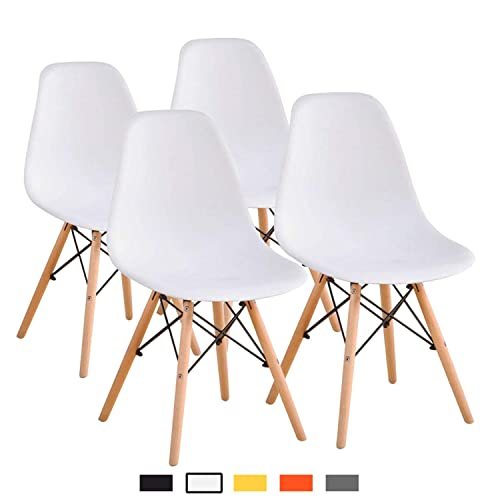 YEEFY Dining Chairs Modern Style Dining Chair Plastic Chair, Set of 4 White