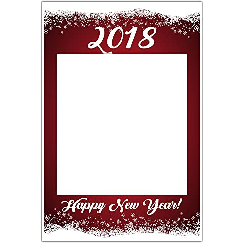 happy new year red snowflakes selfie frame social media photo frame diy booth prop party poster - Diy Photo Booth Frame
