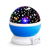NEW GENERATION Baby Night Lights for kids, Lizber Starry Night Light Rotating Moon Stars Projector, 9 Color Options Romantic Night Lighting Lamp, USB Cable / Batteries Powered for Nursery, Bedroom