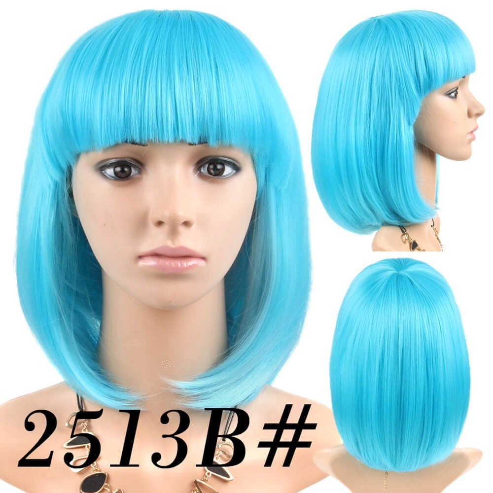 Amazon.com : Cheap Short Bob Wig Cyan Blue Color #2513B With Bangs for Women Full Head Colorful Cosplay Daily Party Anime Best Synthetic Wigs Straight Real ...