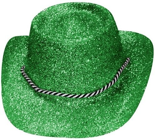 [GREEN GLITTER COWGIRL HATS FANCY DRESS ACCESSORY PERFECT FOR HEN PARTY COWBOY COSTUMES STAGE SHOW DANCE SHOWS by] (Rootin Tootin Cowgirl Costume)