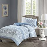 Sybil Printed Duvet Cover Set Single Size - Blue Globally Inspired Printed Motif - 2 Pcs Ultra Soft Hypoallergenic Microfiber Quilt Cover Sets