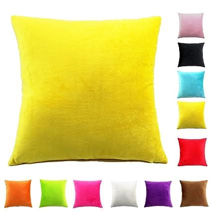 Easondea Fundas de Cojín de Color sólido Square Decorativos para Sofá Cama Coche Fundas Cojines Funda de Almohada Amarillo 60X60CM