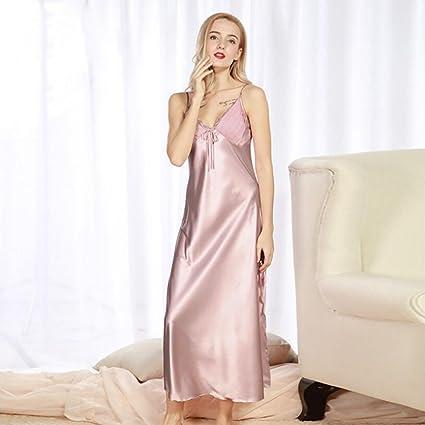 Señoras Pijamas De Simulación De Seda Pijamas De Verano Largas Correas Atractivas Camisón De Gran Tamaño