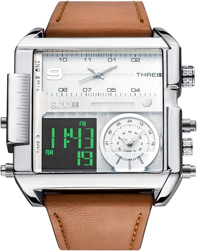Joshua Sons Chronograph Men s Watch Leather Band with Big Rounded Stainless Steel Face – Multifunction Date, 30 Minute and 60 Second Registers