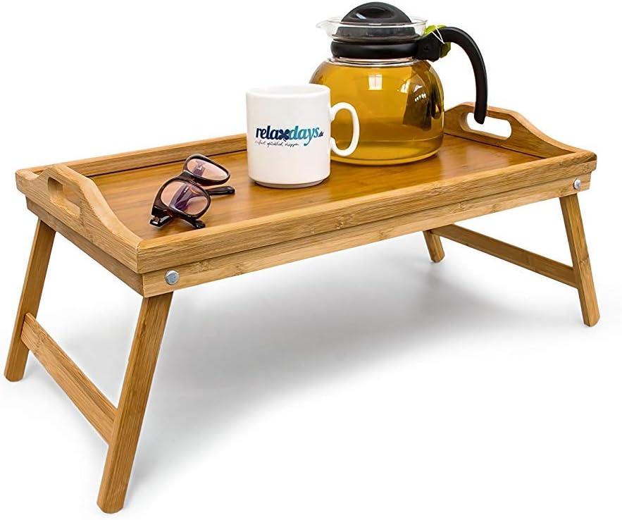 Relaxdays 10012858 Bandeja para Cama de bambú, mesita con Patas Plegables, Natural, 50x30x23 cm
