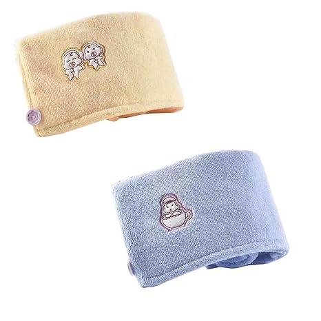 Set de 2 lindos toallas para secar el cabello, súper absorbente, secado rápido [