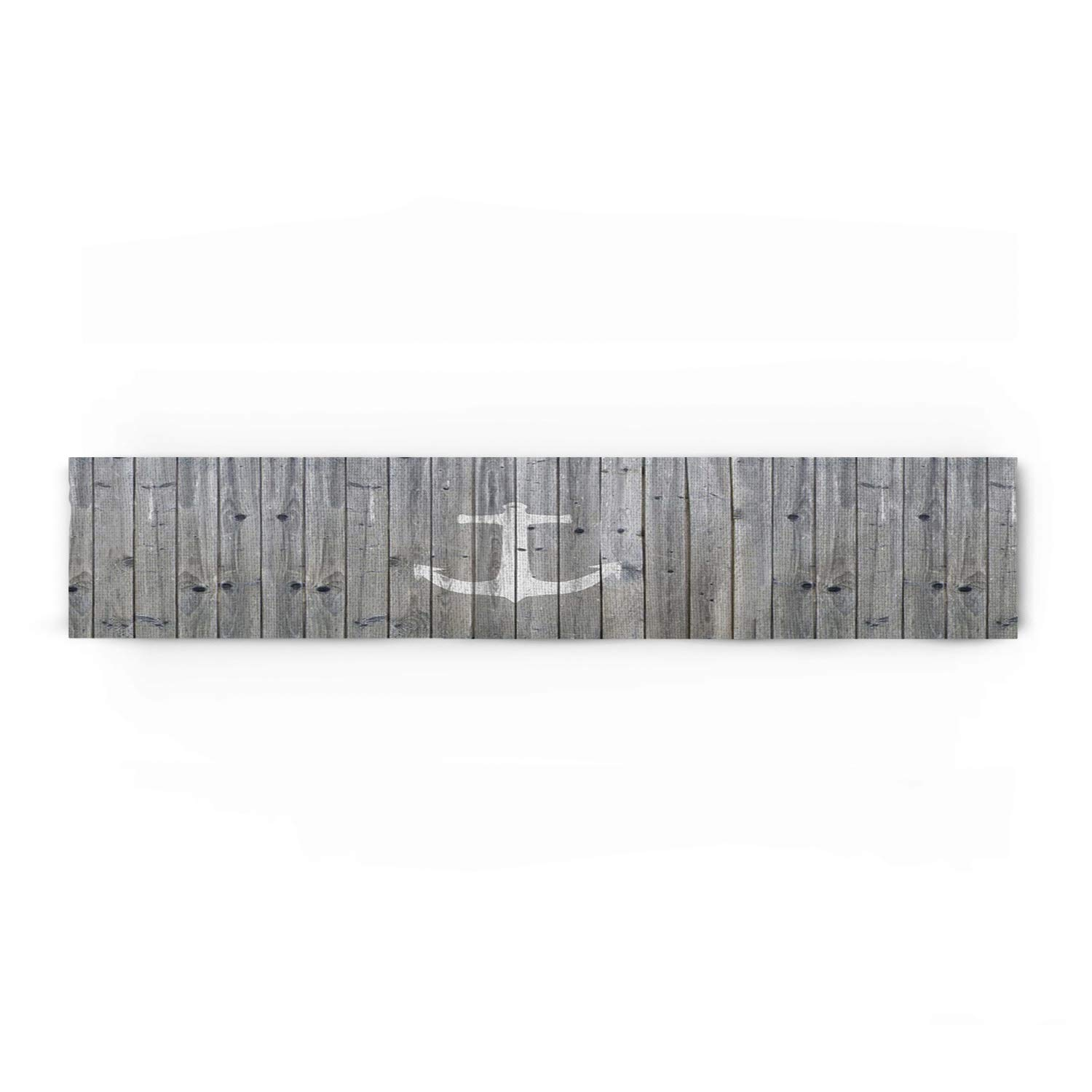 Beauty Decor Polyester Fabric Grey White Natural Rectangle Lace Table Runners Retro Wood Grain with Anchor, 18x72inch