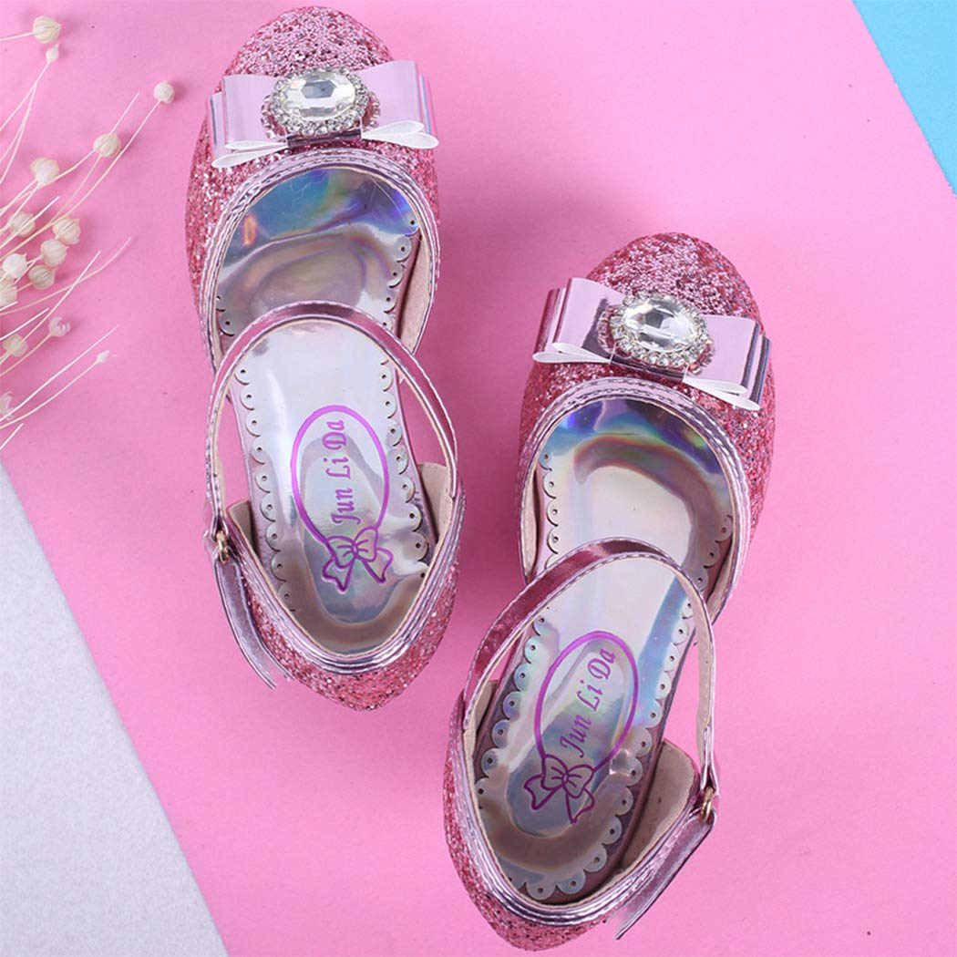 Raylans Kids Girls Glitter Low Heels Princess Dress Shoes Mary Jane Party Wedding Shoes