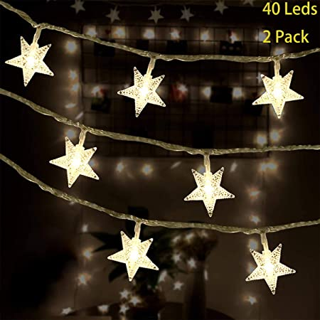 10 Count Led Star String Lights Battery Operated