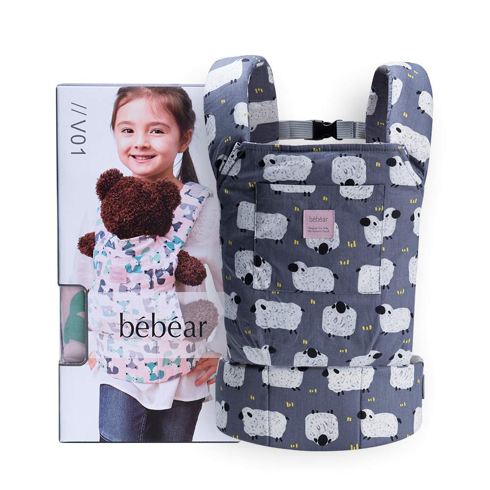 Bebamour Baby Doll Carrier for Kids Front and Back Carrier Original Cotton Baby Carrier for Doll for Boys & Girls (Grey)