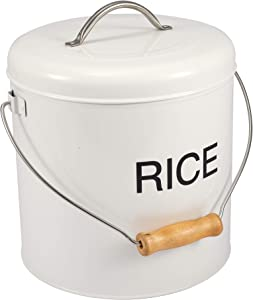 White Steel Dry Food Kitchen Storage Box Rice Storage, Flour withTight Lid Ideal for Cereals Rice Pasta and More-White