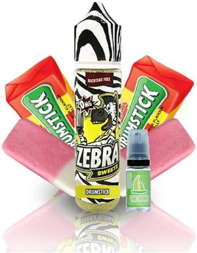 E Liquid Zebra Juice Sweetz Drumstick 50ml - 80vg 20pg + E Liquid The Boat 10 ml lima limón - Pack de 2 líquidos para cigarrillo electrónico. Ambos líquidos contienen 0,0mg de nicotina.