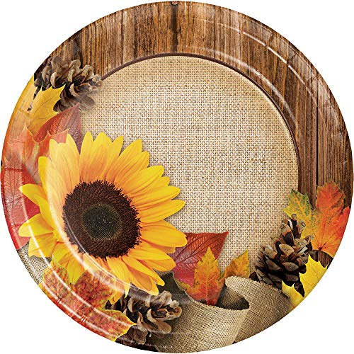 Sunflower Burlap Wood Grain Fall Leaves Autumn Crafts Cake Plates Harvest Thanksgiving Weddings]()