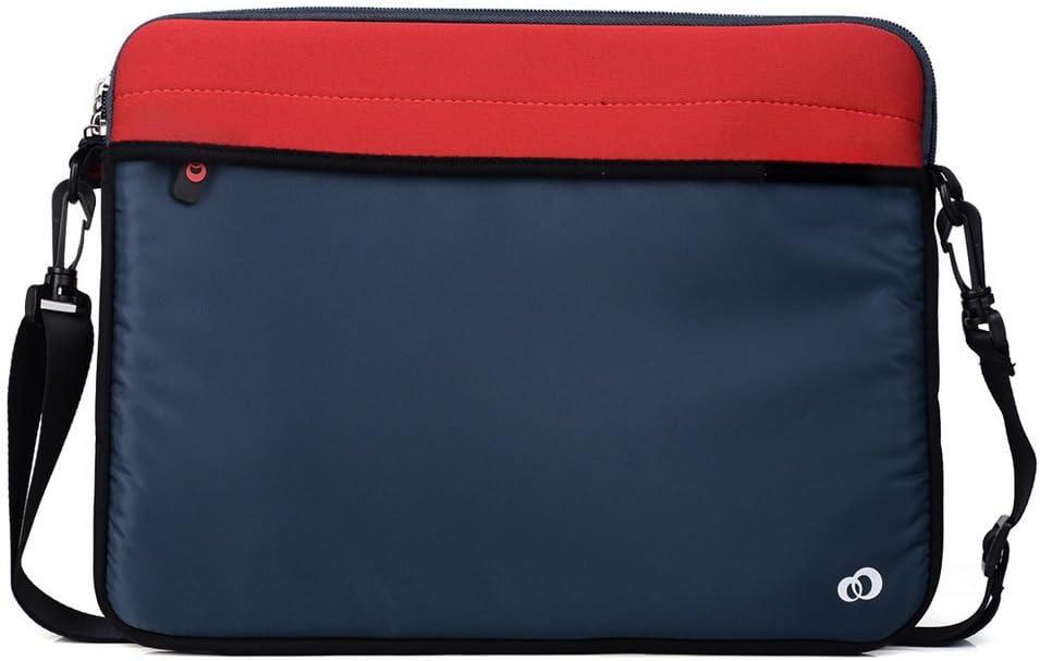 "Kroo ND13S2R1 13.3"" Neoprene Messenger Bag Sleeve with Removeable Shoulder Straps for Laptops, Red"