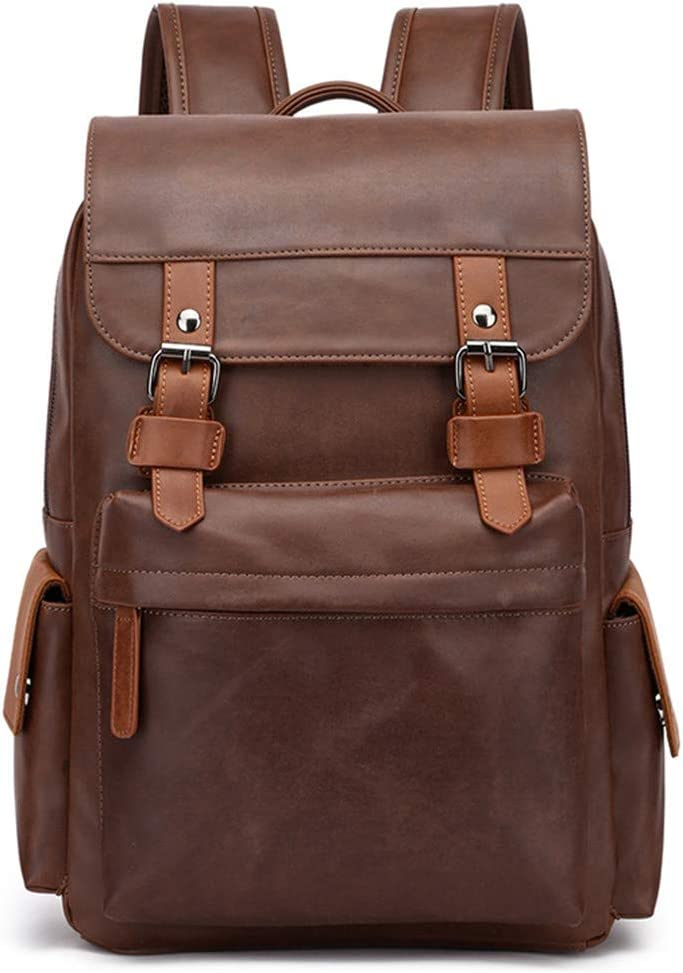 Travel Laptop Men Backpack Business PU Leather Bag For 15.6 Computer Water Resistant School College Backpacks 3 34x17x40cm