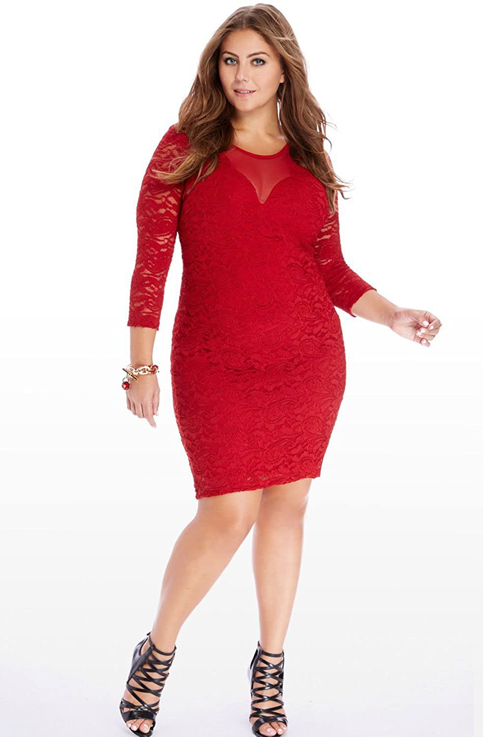 Zumeet Women Lace Decorated Plus Size Valentine Dress Red at ...