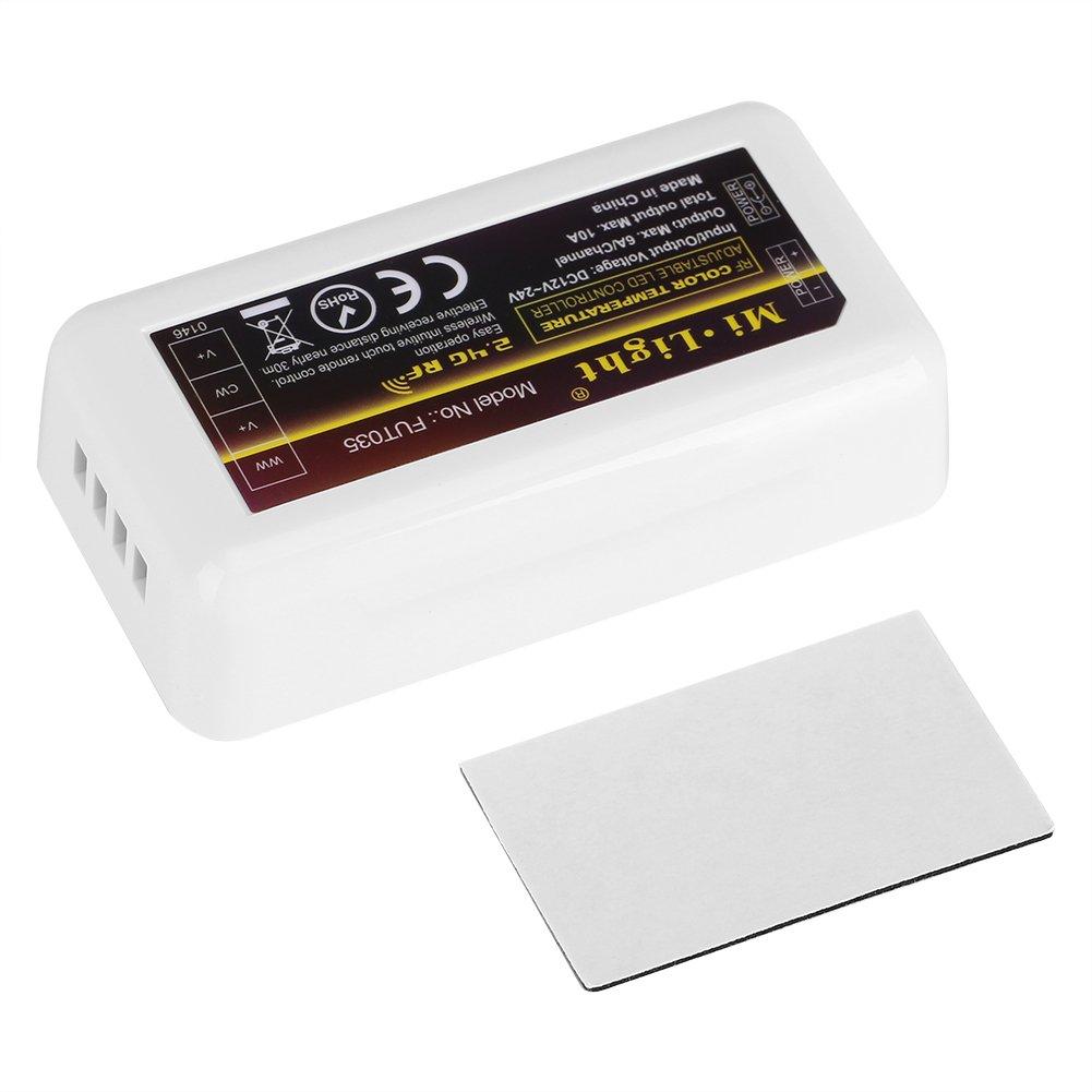 Controlador WiFi 2.4G de 4 Zonas RGB WW CW C/álido de Luz Blanca Fr/ía en Blanco y Negro Socialme-EU