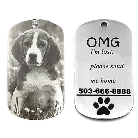 HOTCHILI Collar para Mascota Personalizado, Medalla para Perro y Gato Placa Identificativa Personalizada de Acero