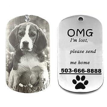 HOTCHILI Collar para Mascota Personalizado, Medalla para Perro y Gato Placa Identificativa Personalizada de Acero con Grabado Láser, Anti pérdida, con ...