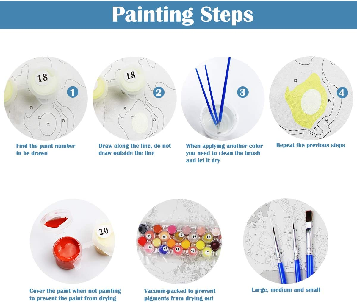 DOERDO DIY Painting by Numbers for Adults 4 Kittens Canvas Oil Painting Kit for Kids /& Adults