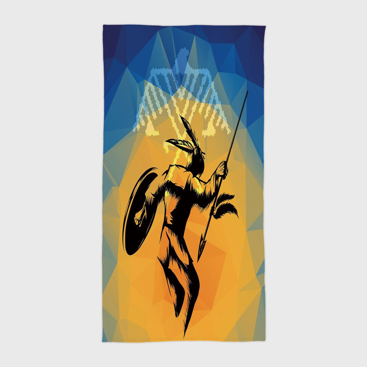 One Side Printing Hotel SPA Beach Pool Bath Hand Towel,Native American War Dance Ritual Against Ancient Totem Poly Effect Triangles Abstract Pale Orange Blue,for Kids Teens and Adults