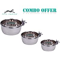 Pets Empire Best Stainless Steel Birds Coop Cup Feeder Bowl with Clamp Holder Combo Offer, 500 ml (Pack of 3)