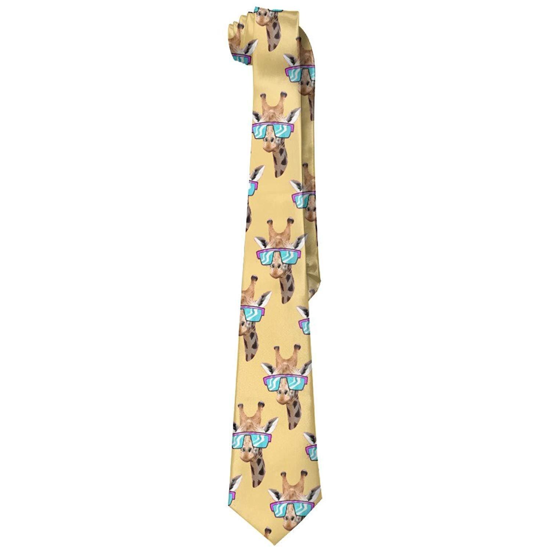 Giraffe With Retro Sunglass Men's Tie Long Necktie Skinny Neckwear Silk