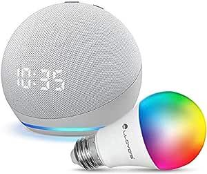 Echo Dot con Reloj (4ta Gen) con Lloyds Foco Inteligente WiFi, Multicolor + Luz Blanca Fría y Cálida, Blanco