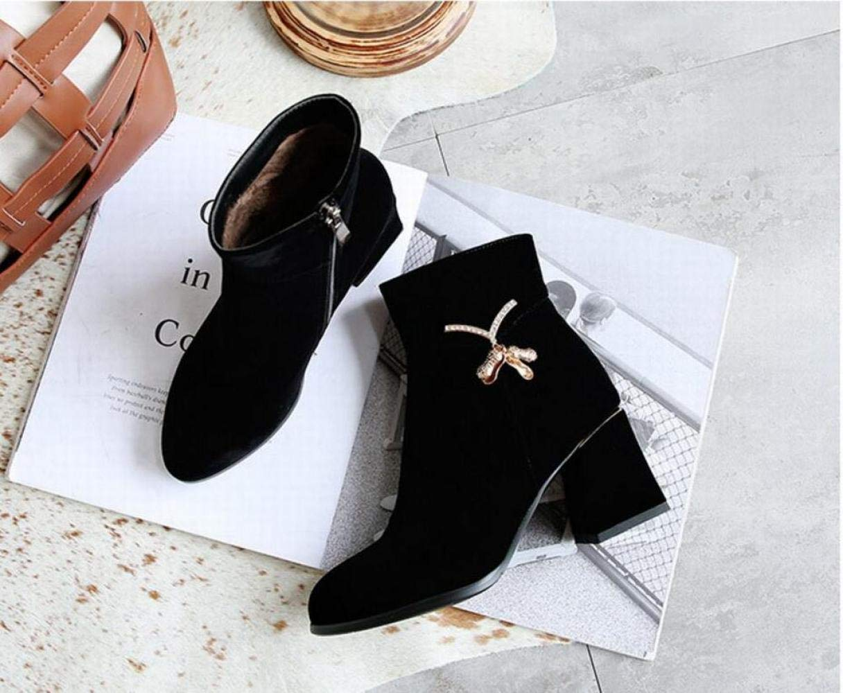 Stiefel Für Damen - Warme Hochhackige Stiefel Nubuk-Stiefeletten, 6.5 cm Spitze Stiefel Nubuk-Stiefeletten, Stiefel 33-43 f6eef4