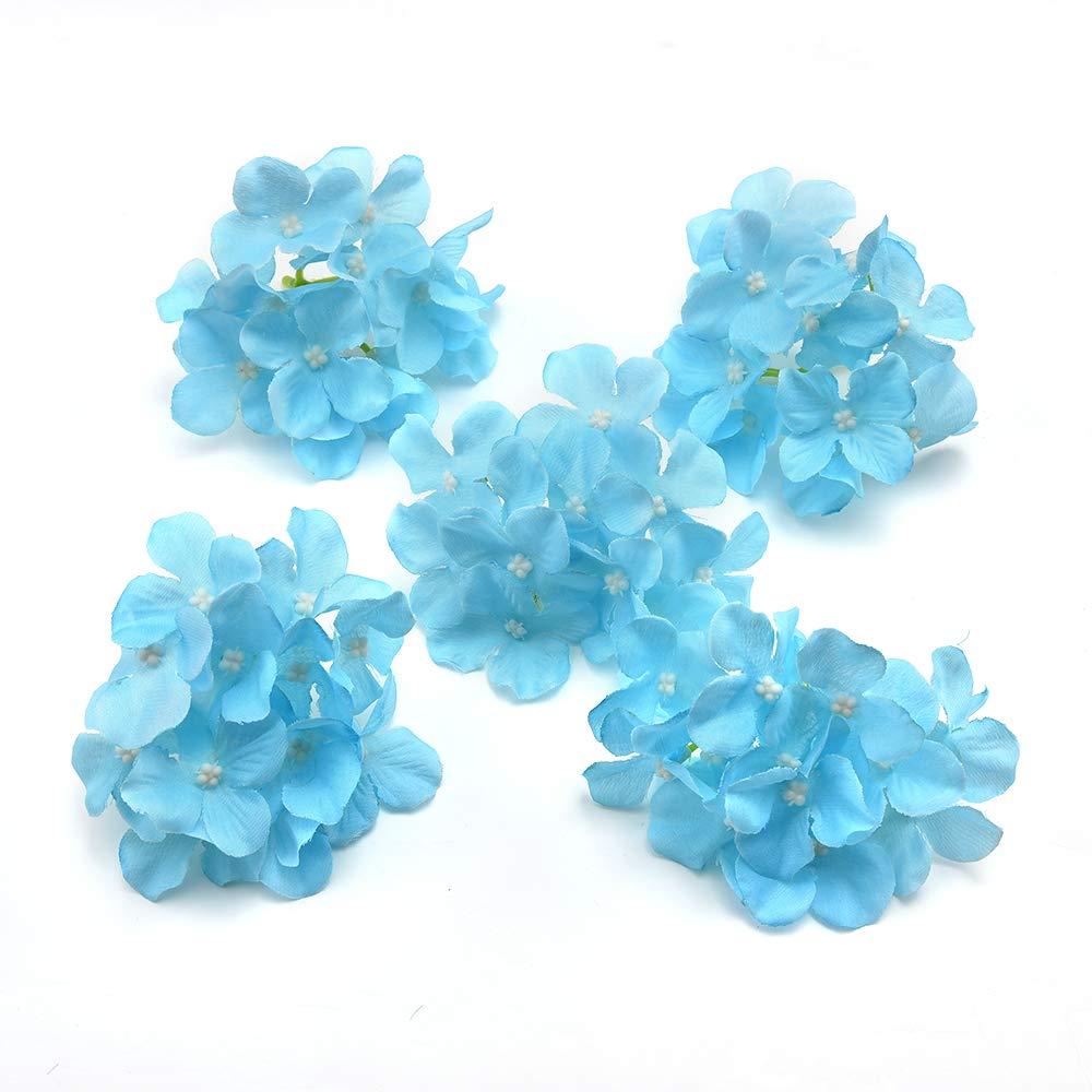 造花 造花 シルク 装飾 アジサイの花 DIY シルクフラワー ウェディングホームデコレーションフラワー 20個 ブルー B07GYXVRJL ブルー