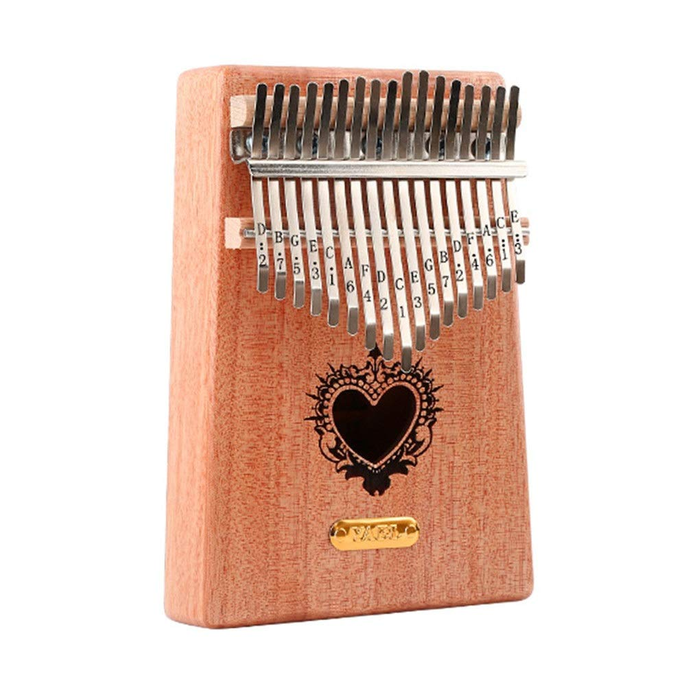 Portable 17 Keys Kalimba Unicorn Heart Flower Carving Wood Thumb Piano Standard C Tune Finger Piano Metal Engraved Notation Tines With Tuning Hammer Pickup Carry Bag Kids Musical Instrument Gifts for
