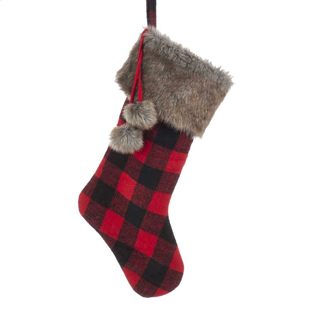 Kurt Adler SG0172 21'' Fabric Plaid Stocking with Faux Fur Cuff