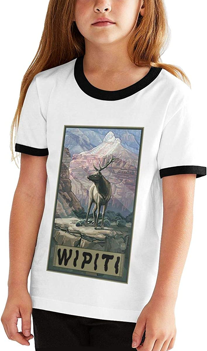Betty Doddedf Grand Canyon Elk Youth and Childrens Creative Fashion Short-Sleeved T Shirt Tops