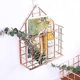 Oro rosa Revista y periódico titulares Revistero pared Cestillo de metal Escritorio de basura rectangular chicas -A 11x15x19cm(4x6x7)