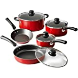 9-Piece Red Simple Cooking Nonstick Stay-Cool Handles Riveted Heat- And Shatter-Resistant Tempered Glass Lids Dishwasher-Safe Cookware Set