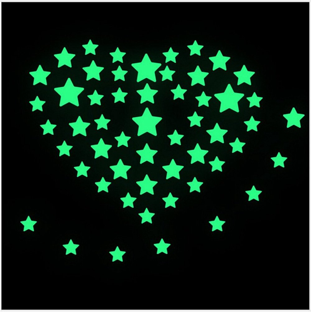 Danyoun Glow in the Dark Stars Baby Room Nursery, Home Wall Glow Stars Stickers Decal DIY Wall Decal Plastic Luminous Wall Stickers Bedroom Decoration Decor Baby Boy Gril Gift Xmas Child Stocking Filler Educational Toy, 100Pcs