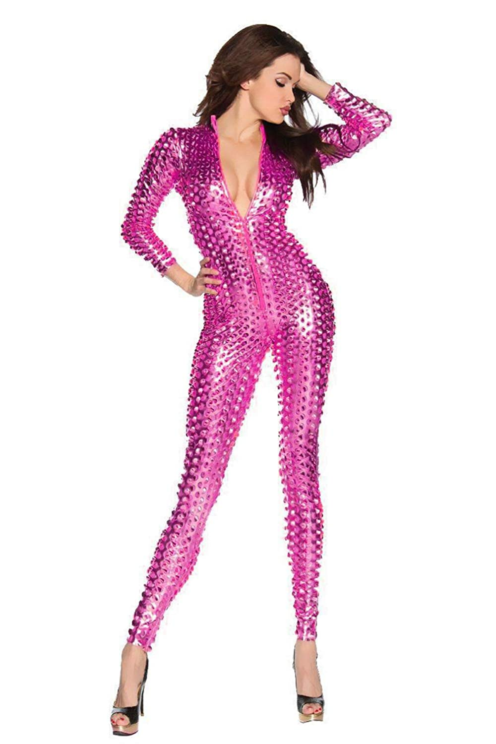 Imitation Leather Tight One Piece Pants Hole Stage Show Clothing Catsuit