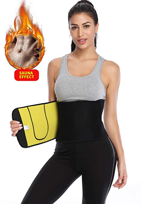 f95ec20f36 Amazon.com   KIWI RATA Premium Neoprene Waist Trimmer Belt Hot Sweat  Slimming Body Shaper Wrap for Fat Burner