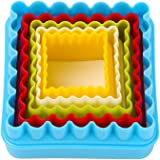Cookie Cutters, MCIRCO Two-sided Square Cookie Cutter Set Multi-size Plastic Durable Fondant Cookie Cutters Shapes for Kids Multi-color Sandwich Cutter with Plastic Storage Box(Square)