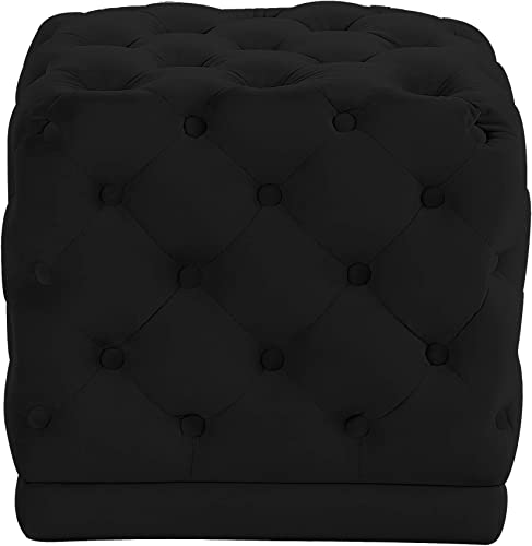Meridian Furniture Stella Collection Modern Contemporary Velvet Upholstered Ottoman Stool with Deep Button Tufting and Solid Wood Frame, Black, 18 W x 18 D x 17 H