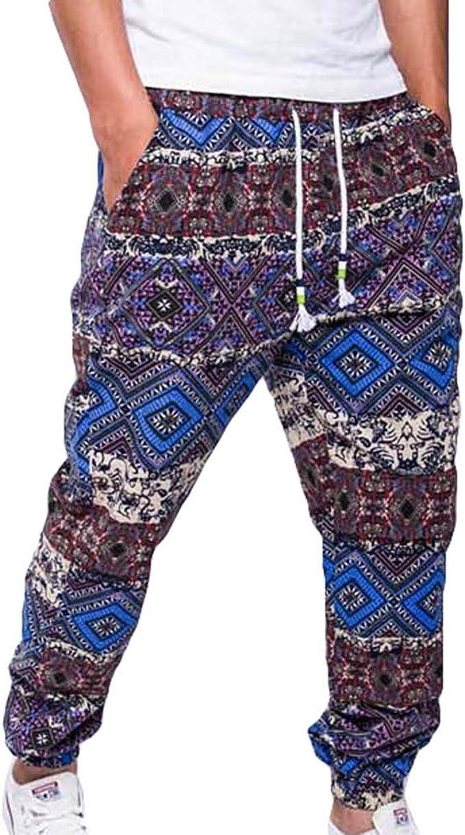 VANVENE Mens Lounge Pants Pyjama Bottoms Casual Soft Print Stripe Trousers