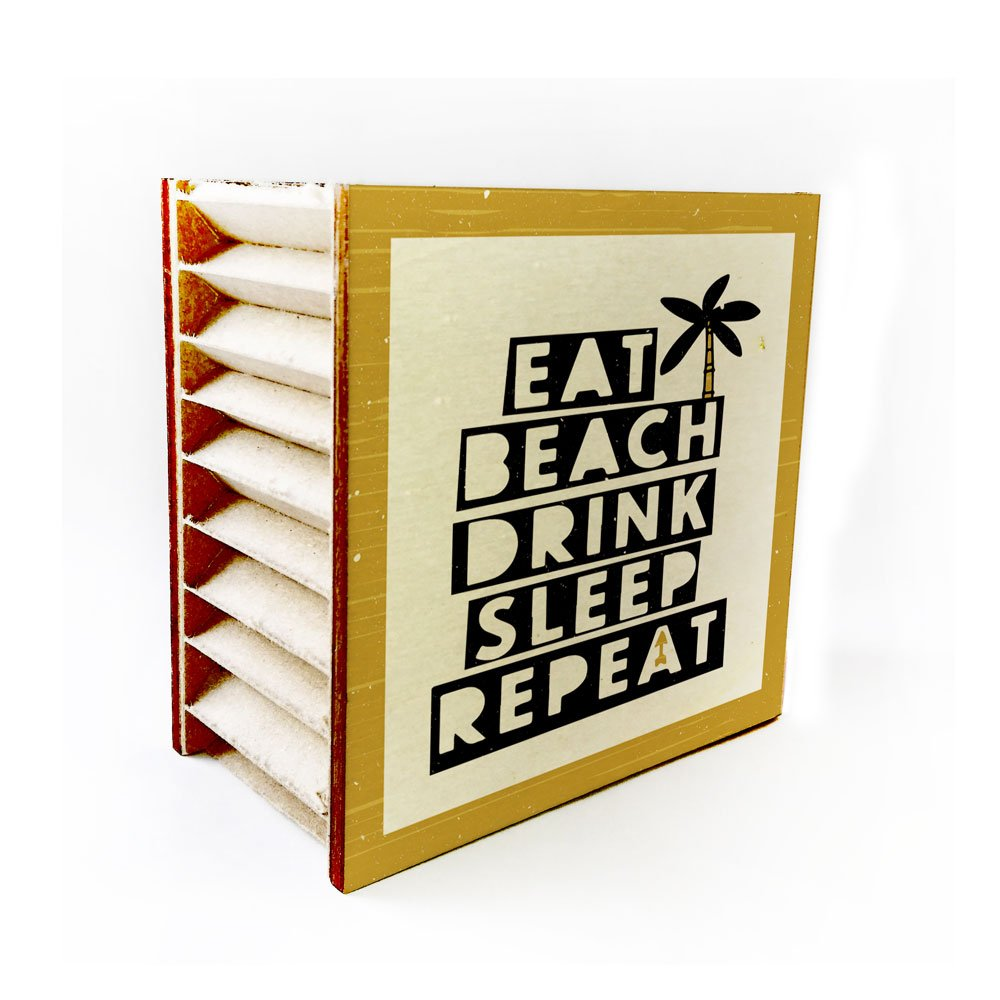 Eco-Friendly And Recyclable DRINK REPEAT 4x4x1 inches Mini Wood Table Decor Sign EAT BEACH SLEEP