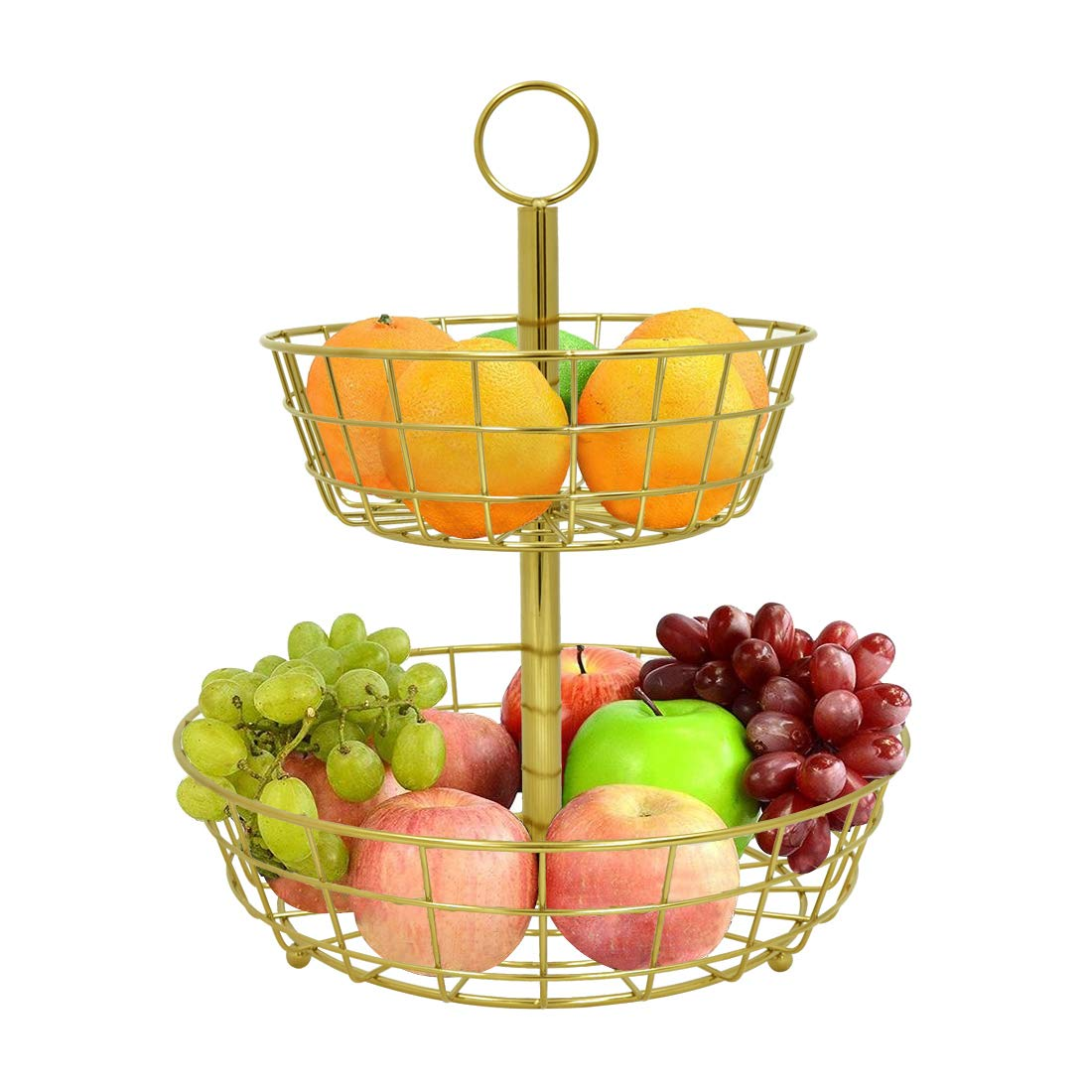 2-Tier Decorative Fruit Basket, Countertop Fruit Bowl Multi Purpose Storage Basket for Vegetable,Bread, Snacks, Households Items Storage,Gold