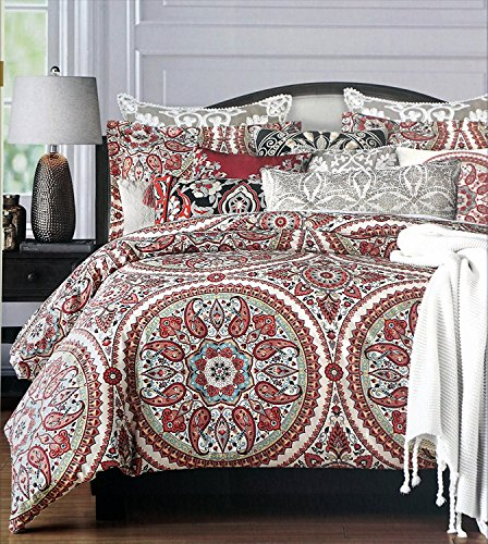 Cynthia Rowley Bedding 3 Piece King Duvet Cover Set Medallion Pattern in Shades of Red, Blue, Yellow and Gray on Cream (Red And Cream Duvet Cover)